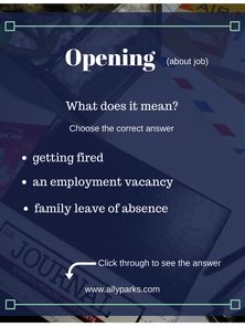 opening meaning, define opening, Vocabulary Worksheets, English vocabulary… Second Language, Foreign Language, English Language, Vocabulary Worksheets, English Vocabulary, English For Beginners, Getting Fired, English Words