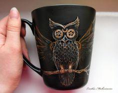 Steampunk Owl Mug by Evidriell.deviantart.com on @deviantART