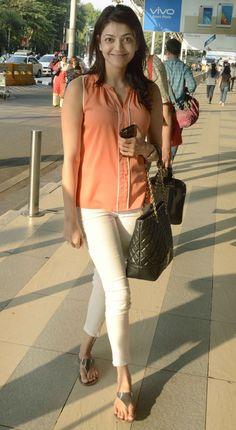 Kajal Aggarwal : Spotted: Akshay Kumar, Abhishek Bachchan at the Mumbai airport Bollywood Actress Hot, Beautiful Bollywood Actress, Most Beautiful Indian Actress, Bollywood Fashion, Indian Actress Photos, Indian Film Actress, Indian Actresses, Indian Fashion Dresses, Fashion Outfits