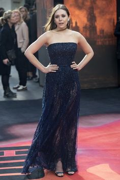 Elizabeth Olsen Wearing Elie Saab Couture - 'Godzilla' London Premiere