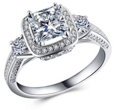 Genuine Pure Solid Diamond Engagement Rings