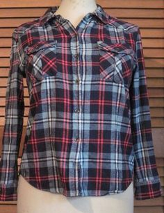 FOREVER 21 size Small Red Black Aqua Plaid Shirt Women's Long Sleeve Button Up #FOREVER21 #ButtonDownShirt #Casual