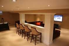 "Basement Design Ideas, Pictures, Remodels and Decor (like the idea of seating behind ""eating"" ledge or use sofa table behind a couch for a non built-in - instant stadium seating) Basement Decorating, Interior Decorating, Room Interior, Home Theater, Cellar, Bunk Beds, Theatres, Pools, Home Theaters"