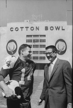 The Dallas Cowboys' first quarterback and first owner: Eddie LeBaron and Clint Murchison in front of the Cotton Bowl