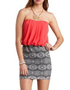 tribal print & chiffon strapless dress