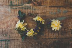 Yellow Woodland Floral Crown Boho Summer Wedding by jewelfeathers