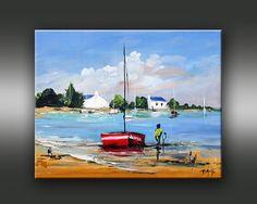 Landscape Art, Landscape Paintings, Watercolor Print, Watercolor Paintings, Painting Templates, Boat Art, Boat Painting, Urban Art, Painting Techniques