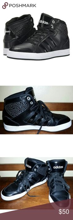"Adidas Raleigh Neo Black Printed Sneakers These sneakers are pre owned but in good condition.   Adidas BBNEO Raleigh Hi Top Sneakers  Size 8 1/2 or 8.5  ""An exotic leopard embossed back panel detail, basketball style, smooth leather constructed high top sneakers for an urban chic casual fit.""  Approx. 1"" platform  Retail price $70 Adidas Shoes Sneakers"