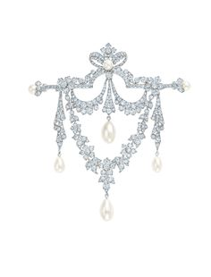 Tiffany & Co. archival brooch from 1910 with diamonds and pearls.