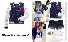 varsity jacket and shorts for a playful you