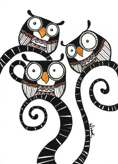 3 Little Owls  Owl Collection 01 5R size  Original by deWishlist, $25.00