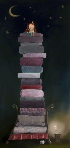 the princess and the pea - Prinzessin auf der Erbse Illustration Mignonne, Art Fantaisiste, Princess And The Pea, Art Brut, Children's Book Illustration, Whimsical Art, Artsy Fartsy, Cute Art, Fairy Tales