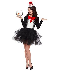 Spirit Halloween Adult Cat in the Hat Tutu Dress Dr. Seuss Check out this amazing cat costume! Dr Seuss Costumes, Seussical Costumes, Epic Costumes, Costumes For Women, Female Costumes, Teacher Costumes, Adult Halloween, Spirit Halloween, Halloween Costumes For Kids
