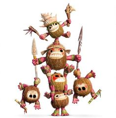 The Kakamora are a tribe of pirates that Moana and Maui encounter on their voyage. The Kakamora are a diminutive race donning armor made of coconuts. They live on a trash-and flotsam-covered vessel that floats freely around the ocean. Despite their cute appearance, they can be quite menacing and will relentlessly persue materials they deem valuable. They are the first adversaries Moana and Maui meet, and fancies the former's rooster, Heihei, after he swallowed the coveted heart of Te Fiti.