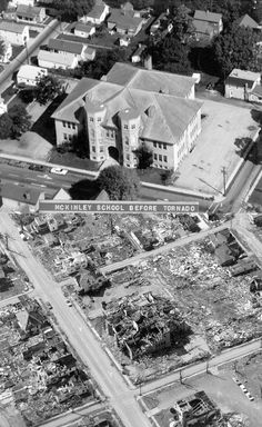 McKinley Elementary School in Xenia before and after the 1974 tornado.