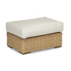 Sunset West Leucadia Ottoman with Cushions Cushion Color: Canvas Flax with self welt
