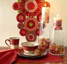 Pier 1 Red Scroll Dinnerware with Radiant Circles Beaded Table Runner that looks like  textile art and glows like gemstones