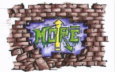 broken brick wall with graffiti letters (marker and colored pencil)