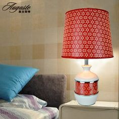 White Paint Bottle Red Leather Minimalist Table Lamp, Red Leather Hollow  Leaked Desk Lamp Bedside