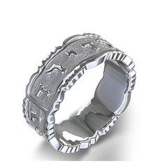 "Textured ""Ani Le-Dodi"" Hebrew Wedding Ring in 14k White Gold"