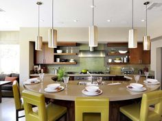 Looking for Midcentury Modern Kitchen ideas? Browse Midcentury Modern Kitchen images for decor, layout, furniture, and storage inspiration from HGTV. Round Kitchen Island, Kitchen Island With Seating, New Kitchen, Kitchen Ideas, Stylish Kitchen, Space Kitchen, Kitchen Redo, Kitchen Colors, Hgtv Kitchens