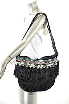 Black Fishnet  Multi  Leather Strap + Bead Trim Cross Body Bag. Get the a671a04d55ac3