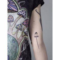 Hand poked mushroom tattoo for Natalia Hołub.