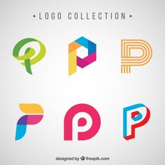 """Creative logos of letter """"p"""" pack Free Vector Kreis Logo Design, P Logo Design, Circle Logo Design, Logo Psd, Typo Logo, Cool Lettering, Lettering Design, Letter Logo, Creative Logo"""