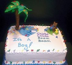 """Baby Shower cake with the Theme     """"Chicka Chicka Boom Boom"""". Cake Art Design's by Marie"""