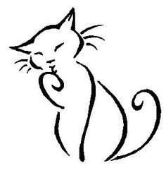 Cat tattoo / line art by CB-Dragoness on deviantART Simple Line Drawings, Easy Drawings, Simple Cat Drawing, Bird Line Drawing, Animal Line Drawings, Drawing Drawing, Drawing Tips, Cat Quilt, Cat Silhouette