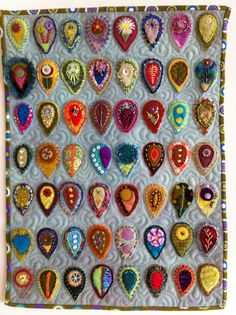 Wool applique, needle-felting, how to bead with embroidery stitches.