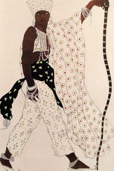 Leon  Bakst. Эскиз костюма пилигрима. Costume of the pilgrim. Sketch. Costume-du-dieu-bleu-de-Leon-Bakst---1912.   Léon Bakst peintre, portraitiste et dessinateur.  collaborateur privilégié des Ballets russes, pour lesquels il réalise costumes et décors entre 1909 et 1921.  En 1912, il est nommé directeur artistique, ce qui lui permet, entre autres, de soutenir les audaces chorégraphiques et musicales de Vaslav Nijinski et Igor Stravinski.
