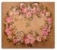 Wreath of antique roses, blackberries and little birds by Hélène Flont