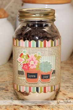 Fun brownie mix in a jar thank you gift created by @Juliana * Michaels featuring #PebblesInc Front Porch collection  #gift #handmade