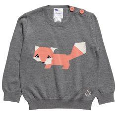 Grey Knitted Fox Jumper - Bonnie baby | Childrensalon