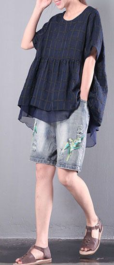 navy plaid casual linen pullover   chiffon t shirt