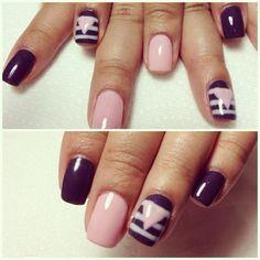 a dark plum and pink nail design