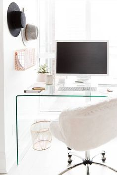 Pendant Light: Structube | Office Chair: PB Teen | Glass Desk: Structube | Marble Base Floor Lamp: CB2