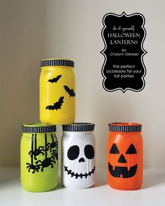 Halloween Lanterns made with mason jar, a little paint and some ribbon. Easy DIY and reuse idea.