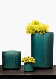 Yellow & Teal: Yellow Pincushion Protea And Craspedia In Teal Linen Ceramic Vases