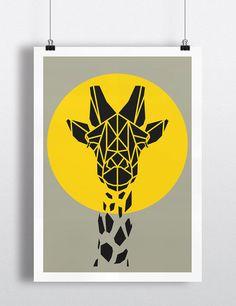Art Print, Geometric Giraffe Print, Cool Gray Giraffe Art, Yellow Circle, Safari Art, Nursery Art, Animal Art
