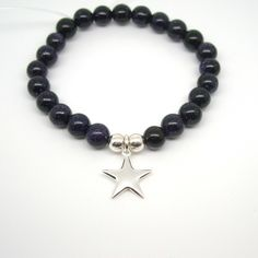 Sterling Silver Star Blue Goldstone Bracelet, girls, ladies, gift, christmas £24.00