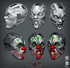 "Batman: Arkham Knight DLC, Joker Thug Mask Zbrush, Jocelyn ""jocz"" Zeller on… Clown Mask, Batman Arkham Knight, Random Quotes, Zbrush, Helmets, Videogames, Action Figures, Concept Art, Masks"