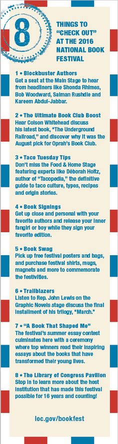 "Blog post: ""8 Things to Check Out at the National Book Festival and 1 Bookmark for You"" by Lola Pyne, Sept. 13, 2016. Image: 2016 National Book Festival bookmark, back"