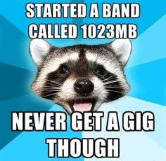 Started a band called 1023....never get a gig though. Computer nerd joke - and not sure what the raccoon face has to do with it!