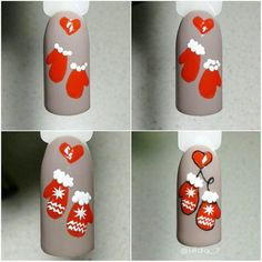 Tutoriais de Unhas de Natal Simples e Simples para Iniciantes 2018 - Moda Femininaa Nail Art Noel, Xmas Nail Art, Cute Christmas Nails, Xmas Nails, Christmas Nail Art Designs, Winter Nail Art, Holiday Nails, Winter Nails, Shellac Nails