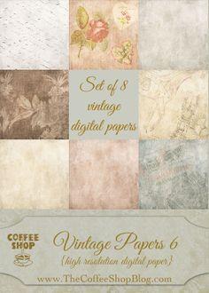 CoffeeShop FREE Vintage Digital Papers 6! - Set of 8