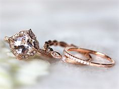 14K Solid Gold 7mm Floral Morganite Engagement Ring and Two Diamond Match Band Wedding Band Anniversary Ring Jewel Set