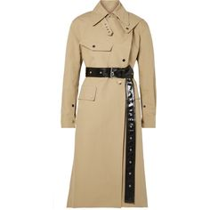 Helmut Lang Belted cotton-canvas trench coat (€725) ❤ liked on Polyvore featuring outerwear, coats, sand, helmut lang, asymmetrical coat, trench coats, asymmetrical trench coat and shiny coat