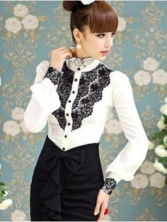 Stand Collar Long Sleeve Black Lace White Shirt